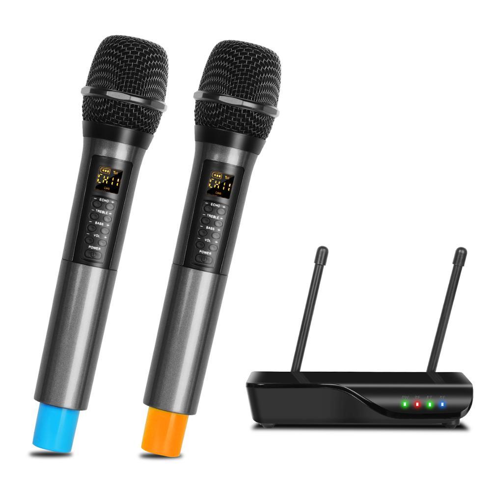 Cupsheng-نظام ميكروفون مزدوج القناة UHF DX6 ، 2 ميكروفون لاسلكي محمول باليد ، مع صوت ثلاثي ، بلوتوث ، للعائلة KTV في الهواء الطلق