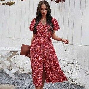 2021 Summer Women Floral Printed Short Sleeve Dress Retro Casual Loose Split  V-neck Ladies Holiday Beach Dress