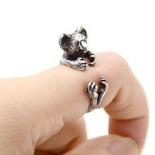 Rétro laiton Knuckle 3D Miniature Koala ours Bague hommes bijoux Boho Animal Anillos amour anneaux pour femmes Bague Femme Anel rose