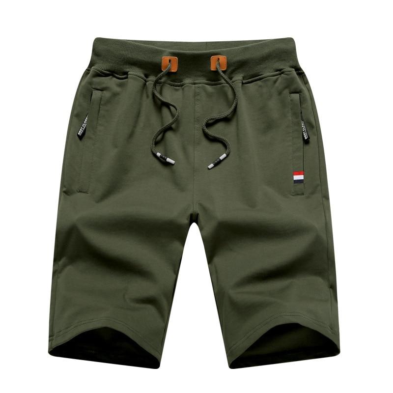 Мужские повседневные хлопковые шорты, трикотажные Прямые пляжные шорты до колена, с кулиской, однотонные облегающие штаны, большие размеры ...