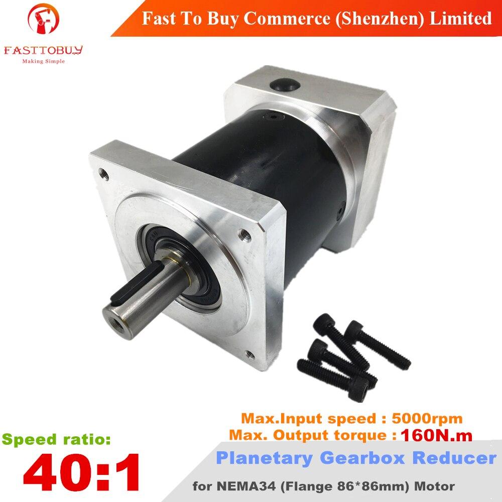 Ratio 40:1 Planetary Gearbox Output Shaft 16mm Speed Reducer, max. Input 5000rpm, Max.Torque 160Nm for CNC NEMA34 Stepper Moto40