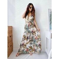 sexy floral long maxi boho women dress summer 2021 fashion sleeveless v neck party sundress casual bodycon vintage long dresses