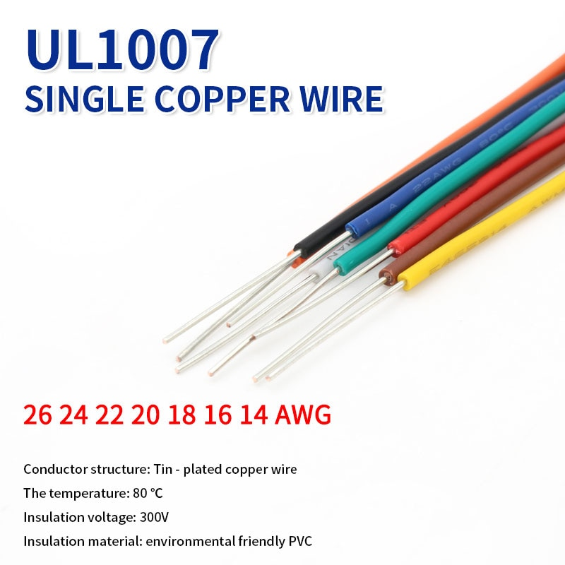 Cable de cobre estañado UL1007, 2M, línea de Cable de núcleo único...