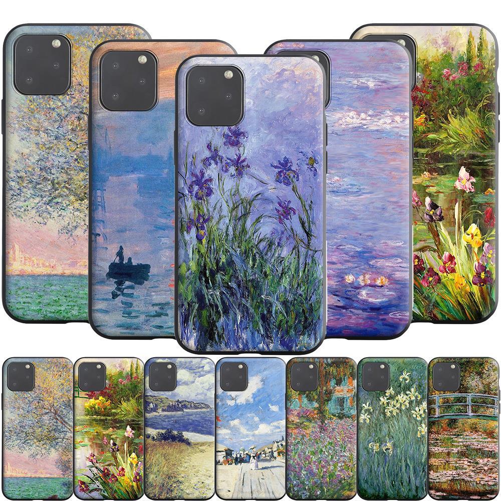 Claude Monet funda de silicona para Apple iPhone 11 Pro X XS XR Max 8 7 6S 6 Plus SE 5S