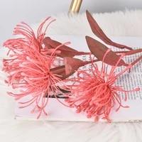 Fleurs artificielles en plastique  branche courte  3 tetes  fausse branche de chrysantheme  decoration de mariage a domicile