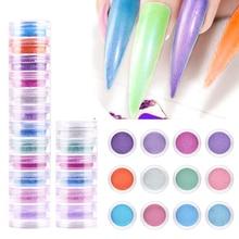 WAKEFULNESS Pearlescent Shimmer Nail Powder Set 12Colors Nail Glitter Powder Pigment Colorful Nail Art Decorations Powder Chrome