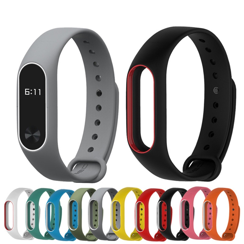 4 chigu double color accessories pulseira miband 2 strap replacement silicone wriststrap for m44258 181018 jia Mi band 2 Colorful Strap Bracelet Accessories Pulseira Miband 2 Replacement Silicone Wriststrap Smart Wrist for Xiaomi Mi Band 2