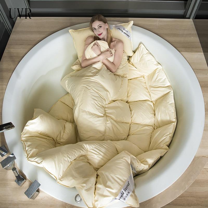 UVR الفرنسية حاف 95% الأبيض أوزة أسفل لحاف سميكة الشتاء الدافئة لحاف سرير مزدوج واحد 100% لحاف من القطن بطانية 220*240