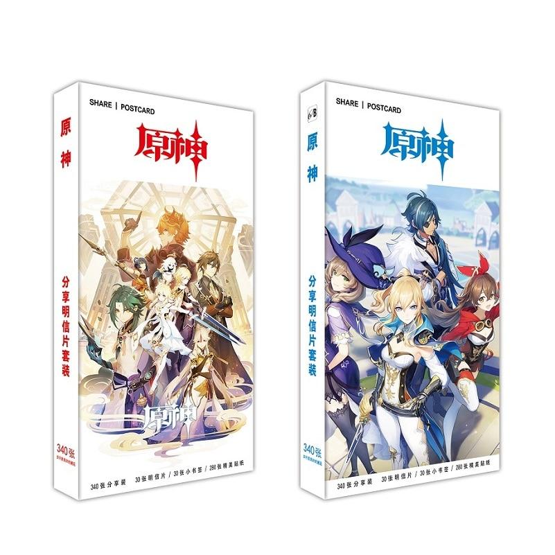 340-pz-set-nuovo-gioco-genshin-impact-grande-cartolina-anime-gioco-personaggio-biglietto-d'auguri-messaggio-regalo-cosplay