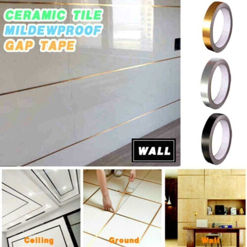 Cinta de moldura de piso para azulejos de línea de oro de 50m (0,2mm de espesor), cinta de separación Anti-moho, hermosa pegatina de pared de costura autoadhesiva