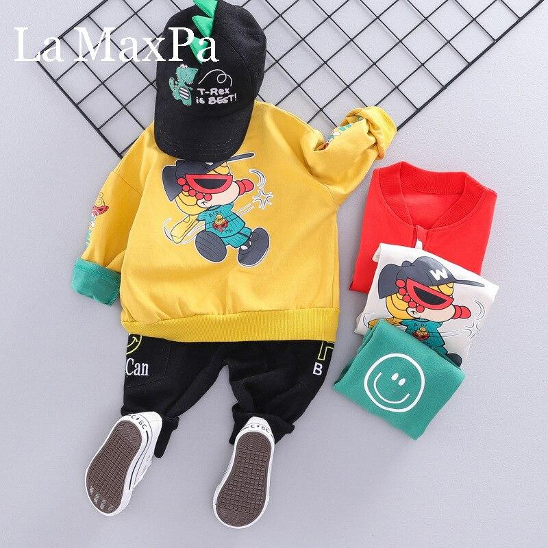 Niños ropa niños de estilo coreano otoño nuevo Cardigan traje de chaqueta niños de dibujos animados traje de tres piezas de abrigo suéter + Pantalones 1158