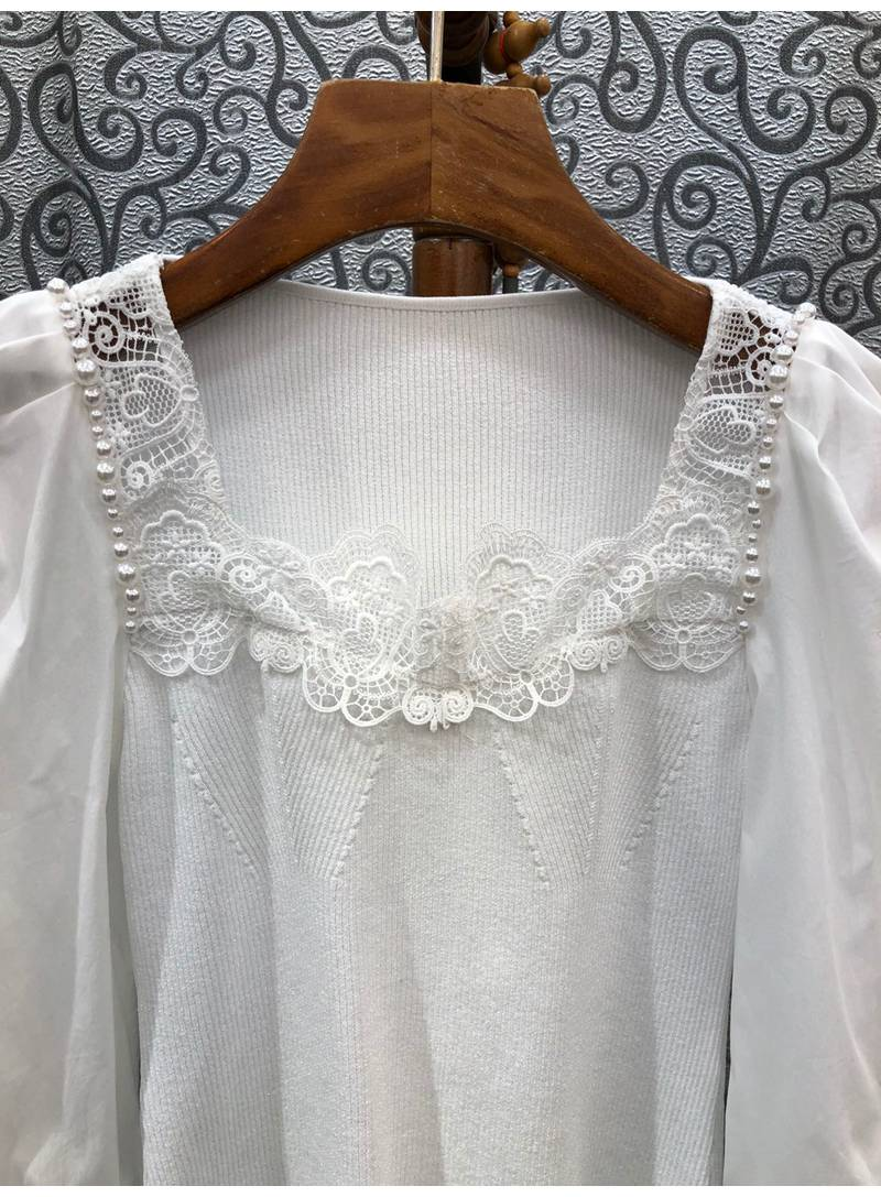 2021 Autumn Fashion Sweaters High Quality Women Sexy Square Collar Appliques Lace Embroidery Beading Deco Casual White Jumpers enlarge