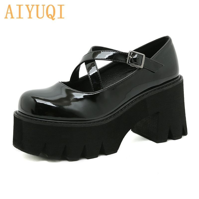 Mary Jane Shoes Women Shallow Mouth New Japanese High-heel College Style Girl Shoes Cross Strap Buckle Platform Women Shoes japanese sweet lolita cosplay t strap bowtie mary jane shoes princess girl square heel latin dance shoes