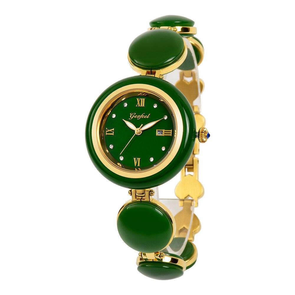 2021 New Hetian Jade Calendar Citizen Quartz Movement Swimming Steel Belt Women 's Watch enlarge