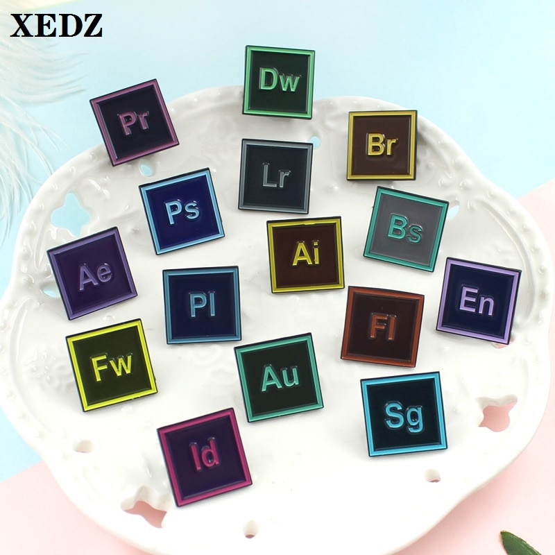 XEDZ office software alphabet computer enamel pin alphabet icon PS .AI .BR ... engineer backpack badge lapel brooch jewelry gift