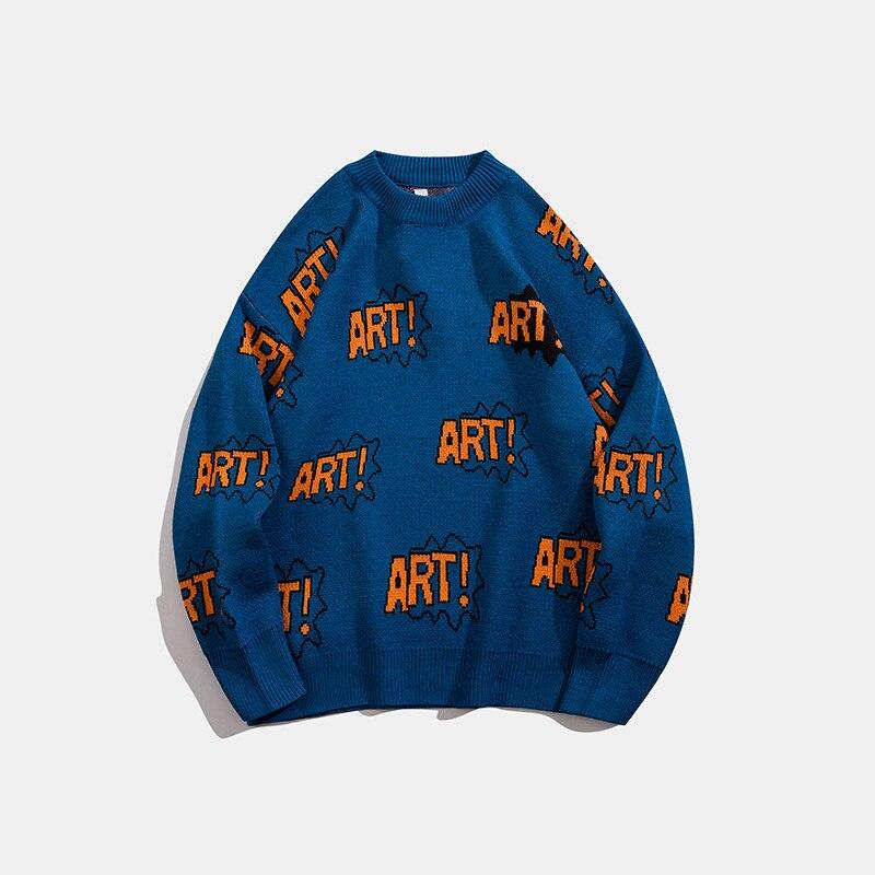 Men Streetwear Letter Jacquard Knit Sweater Hip Hop Pullover sueter masculino Korean Couple Casual O-Neck Men Women Sweaters3364 enlarge