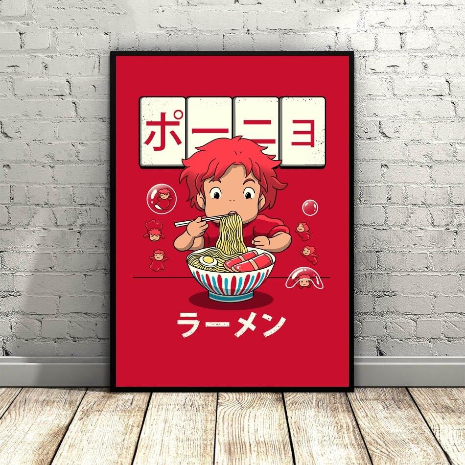 Ponyo Peixinho Ramen Cartaz Lona De Arte para Pintura Sala Dropshipping