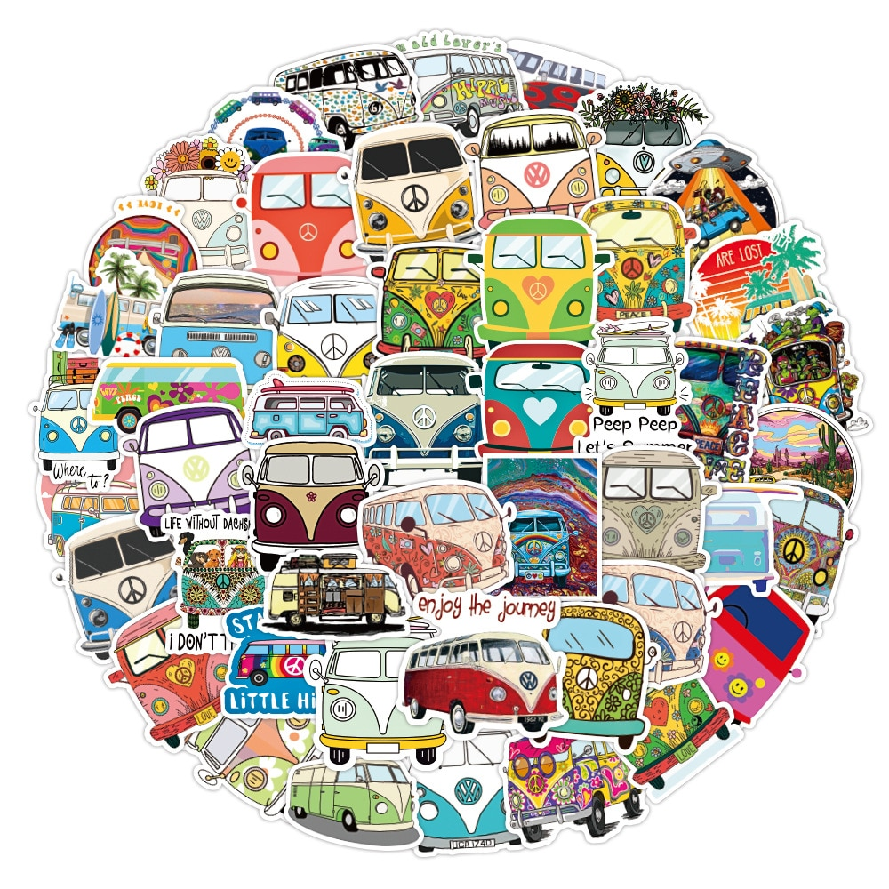 50pcs Retro Hippies Bus Car Stickers Waterproof PVC Decals DIY Notebook Laptop Luggage Scrapbook Car Styling Stationery Sticker
