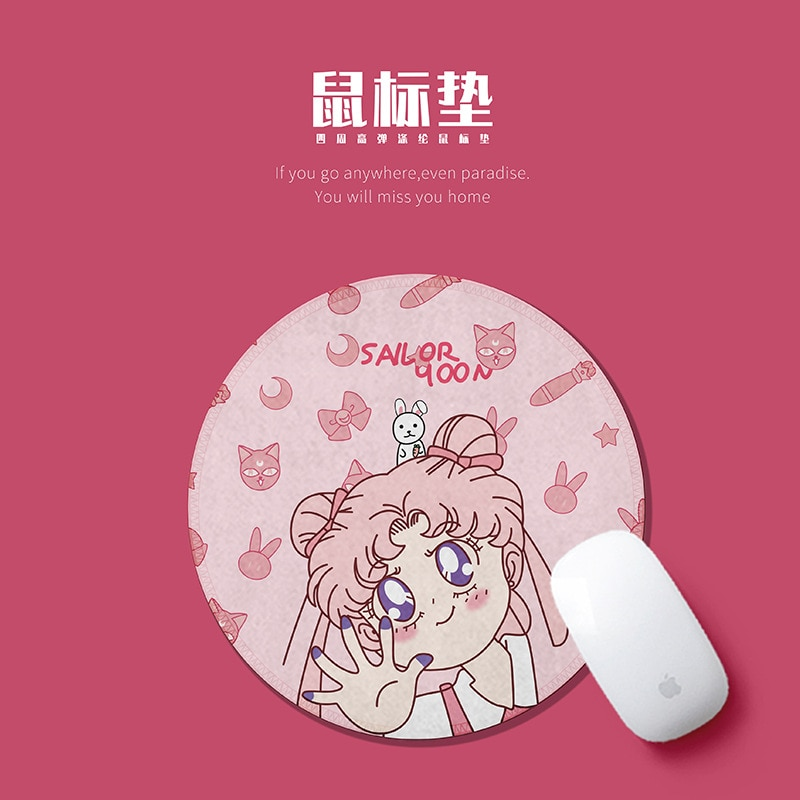 Anime Sailor Moon anime girl Novel Soft Rubber Gaming Mouse Pad Computer Comfort small round cute Mouse Mat