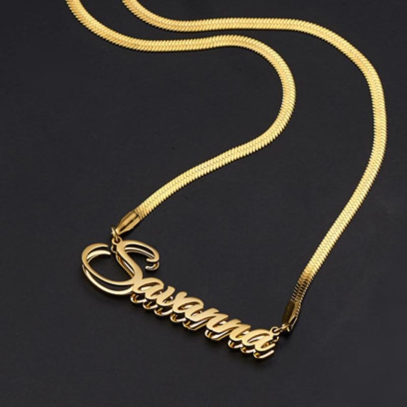 Двухслойное ожерелье с именем под заказ, подвеска из нержавеющей стали с золотыми буквами под заказ