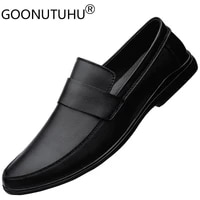 2021 style mens shoes casual genuine leather loafers male classics brown black slip on derby shoe man waterproof shoes for men