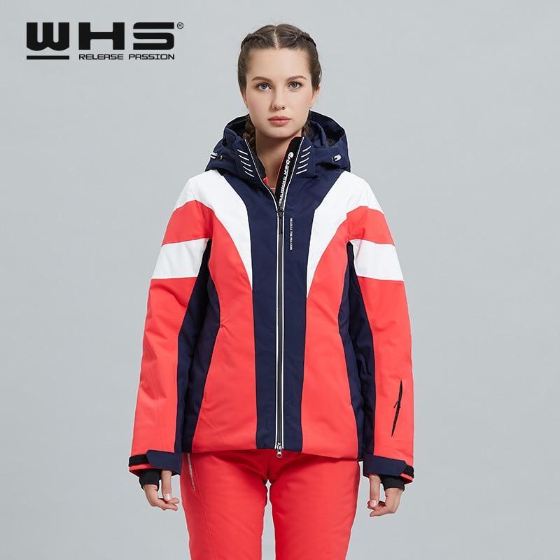 WHS   Skiwear Women's Winter Outdoor Sports Windproof, Waterproof, Breathable and Warm Jacket