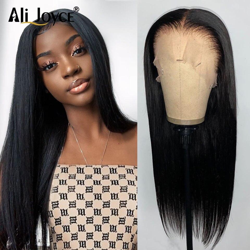 Ali Joyce Straight Lace Closure Wig Brazilian Human Hair #1B baby hair 13X4 Frontal Pre Plucked For Women