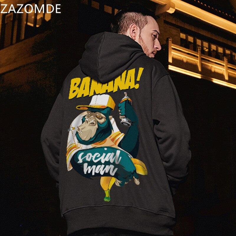 Zazomde 2020 homens casual inverno quente topos do punk masculino alta rua hoodie hip pop harajuku moda legal hoodies streetwear