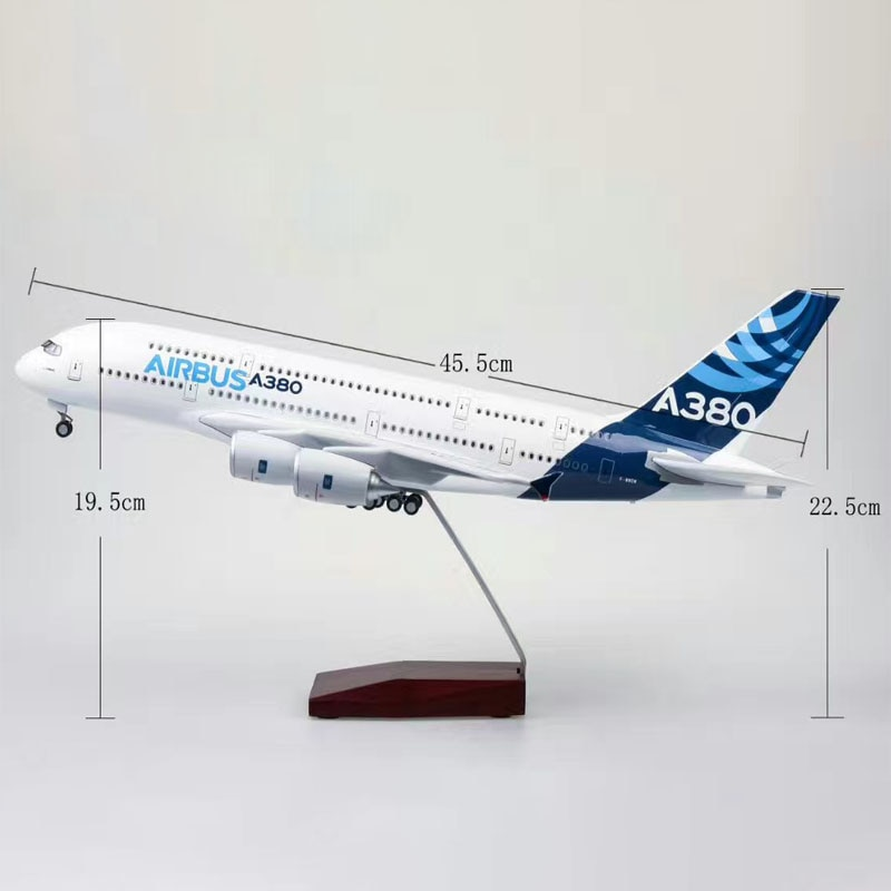 47*46*23CM 1/160 escala A380 prototipo de avión air-bus 380 modelo de línea aérea W luz con rueda de plástico fundido plano de resina