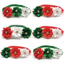 30/50pcs Christmas Rhinestones Flower Pet Dog Bowties Xmas Holiday Accessories Pet Neckties Bowties