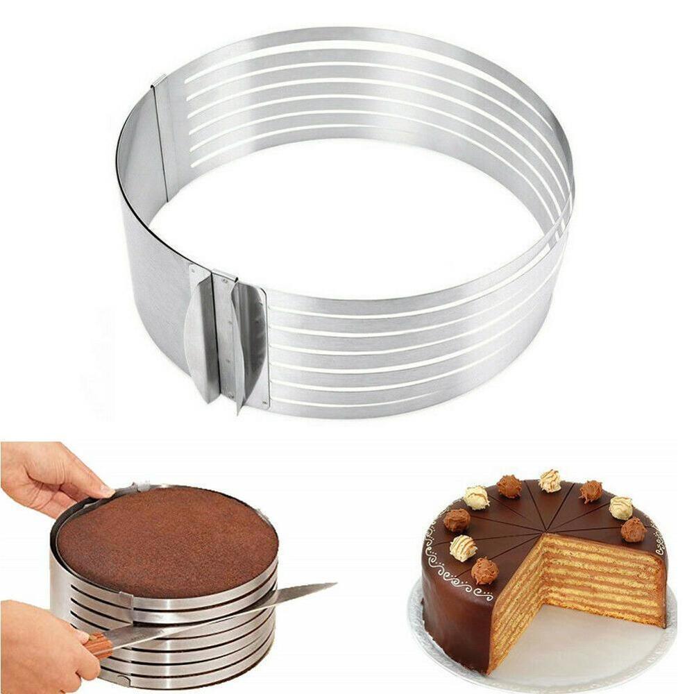 20cm 30cm ajustável redondo pão cortador de bolo slicer cortador de bolo de aço inoxidável 7 camadas slicer mousse anel molde ferramenta de cozimento