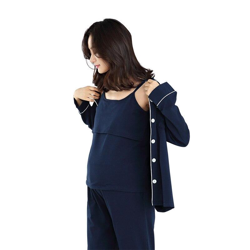 New 3-piece Set of Pregnant Women's Cotton Confinement Clothes Solid Color Nursing Clothes Leisure Pregnant Women Pajamas Suit enlarge