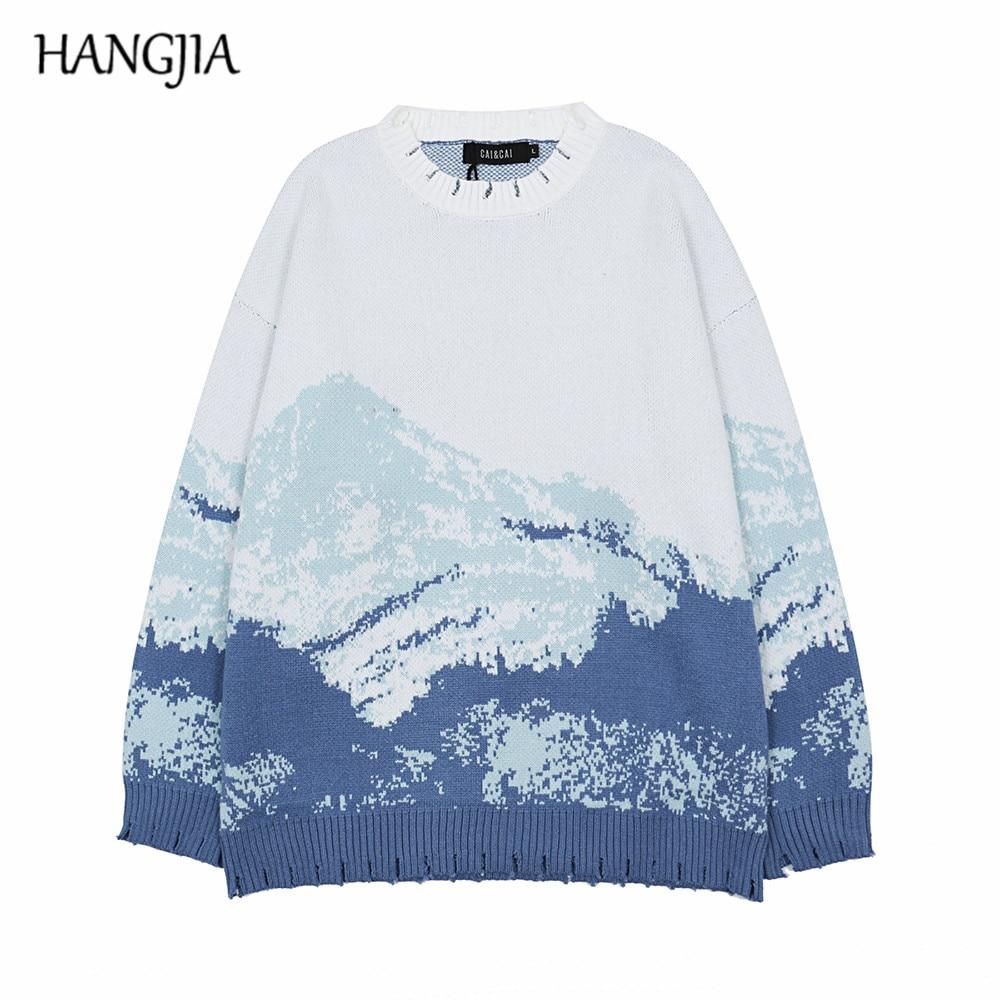 سترة رجالية محبوكة برقبة دائرية ، ريترو ، Harajuku ، الجبال الصينية ، طباعة للجدار العظيم ، الخريف والشتاء