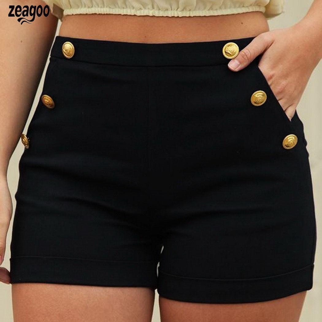 Women Fashion Casual Mental Decoration Elastic Summer Waist Black, Dark Blue Slim Sold Shorts High