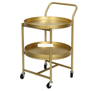 18XS200 Living Room lron Tea Table Double Desk Cart Table Mobile Coffee Table Removable Double Layer Side Table With Pulley