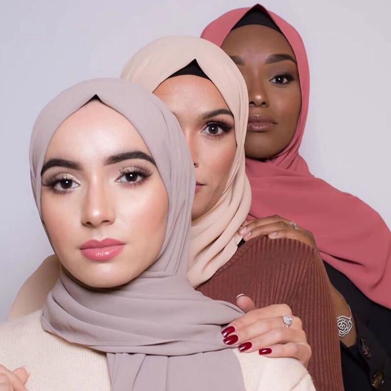 2019 bufanda gasa de las mujeres hiyab liso pañuelos de seda pañuelos cabeza pañuelo de cabeza musulmán Hijab silenciador