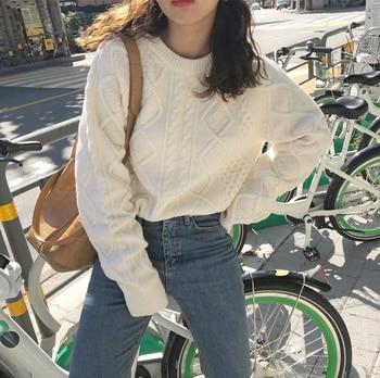 CMAZ 2021 Autumn Winte Sweater Women Tops Knitted Pullover Korean Style Cardigan Soft Warm Pull Thick Outwear