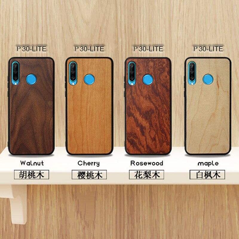 Original de madera Natural carcasa de madera de bambú TPU a prueba de choque carcasa trasera del teléfono de la cubierta protectora para Huawei P30 P30 Pro P30 Lite