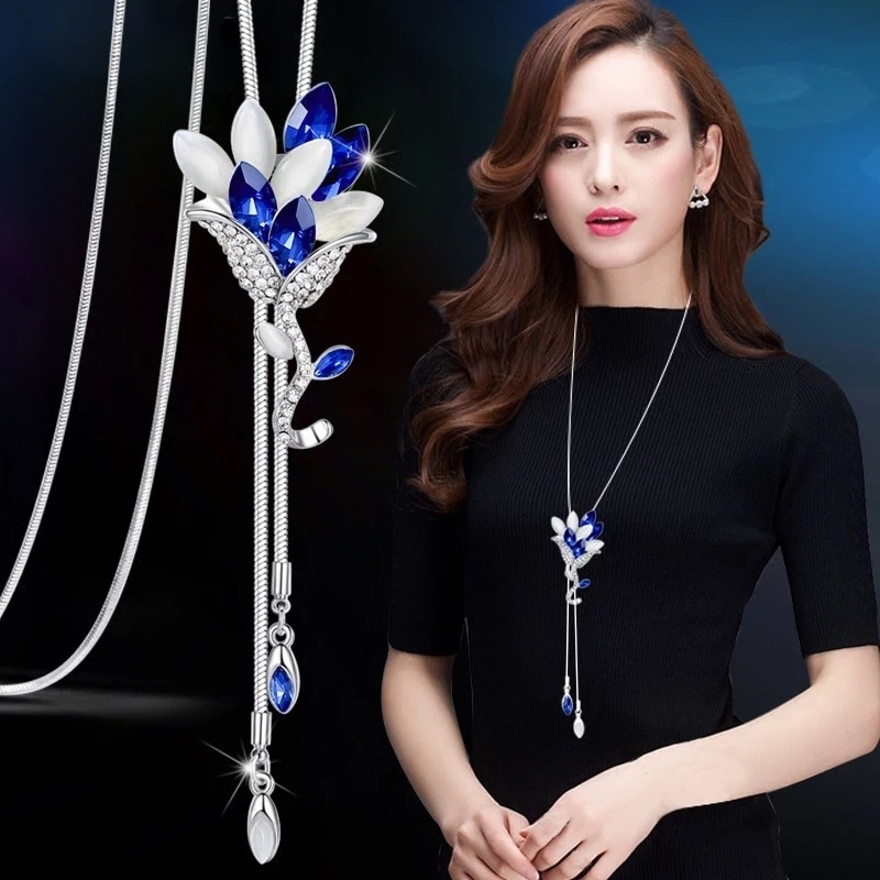 RAVIMOUR mode longue chaîne pull colliers et pendentifs pour femmes bleu opale strass fleur pendentif collier femme bijoux
