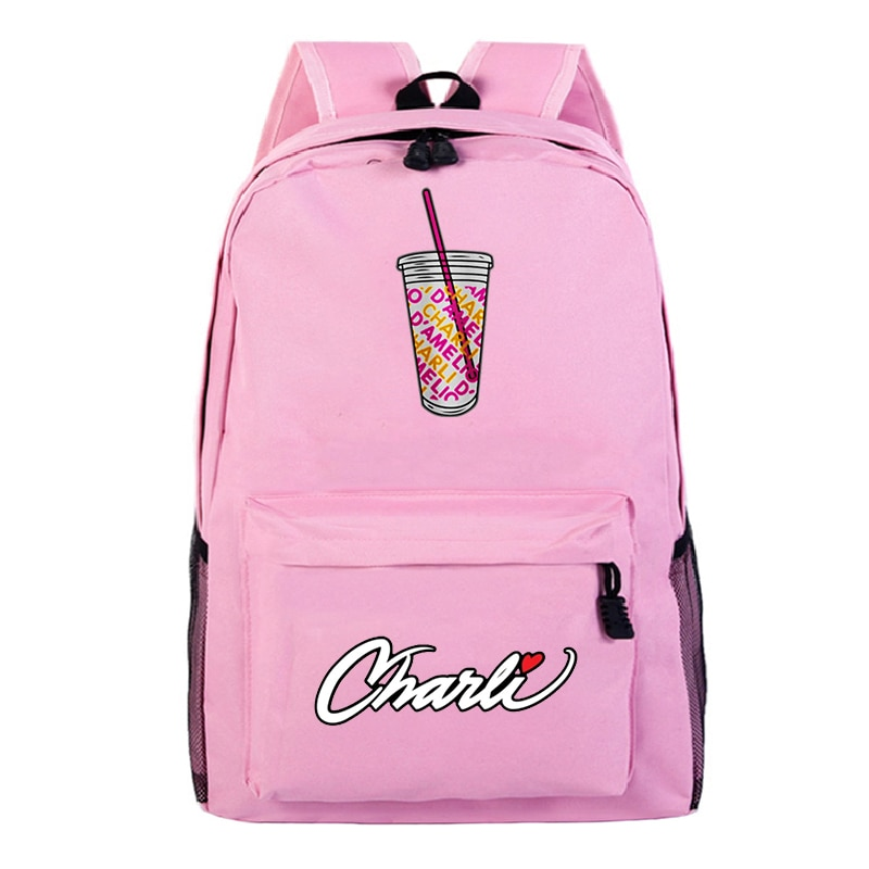 Mochila de nailon Charli DAmelio para chicas adolescentes, bolso de hombro de colegio para mujeres, Mochila de viaje para mujeres, Mochila coreana para ordenador portátil