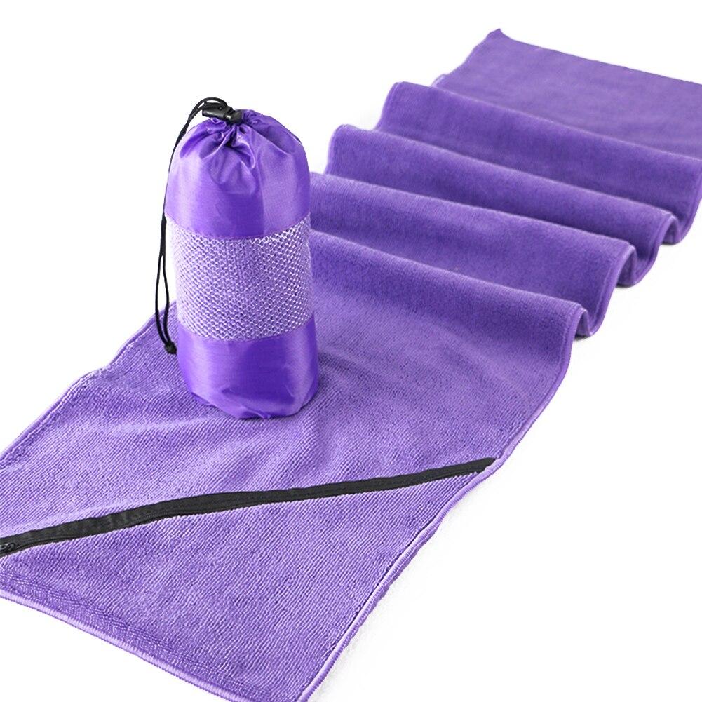 Camping gimnasio toalla larga Extra baño Fitness microfibra deportes natación rápido secado suave Zip bolsillo