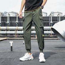 2020 Trousers Hip Hop Fashion Casual Streetwear Pants Men's Side Pockets Cargo Harem Pants Ribbons B