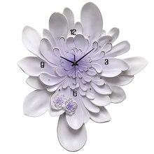 Art Modern Design Wall Clock Accessories Decor Flower Luxury Large Wall Clock Silent European Reloj Pared Home Decoration JJ60WC