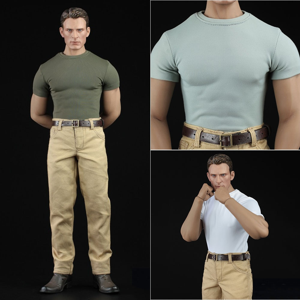 """XM03 1/6 Scale Captain Chris Evan Man Casual Outfit Tight T-Shirt Clothes Suit for 12"""" M33 Male Action Figure Muscle Body"""