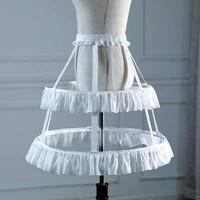 fashion white black 2 hoopsshort petticoat crinoline wedding bridal 2 layers ruffles petticoat for cosplay dresses underskirt