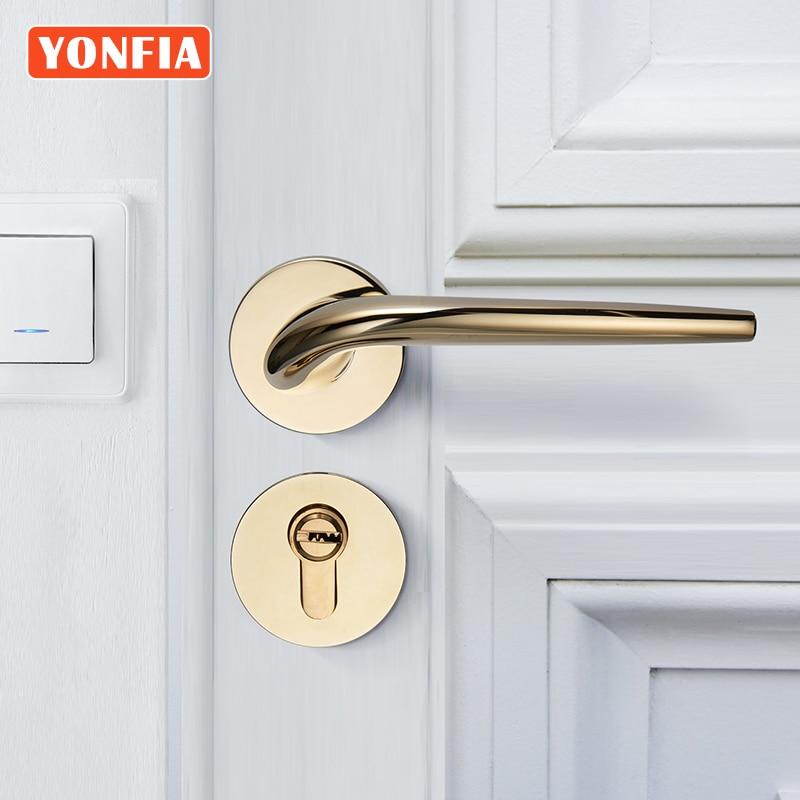 Yonfy 8036 الخصوصية الكلاسيكية PVD الذهب غرفة المنزل الخشب مقبض الباب مجموعة الحمام نقر رافعة مقبض الباب للباب الداخلي