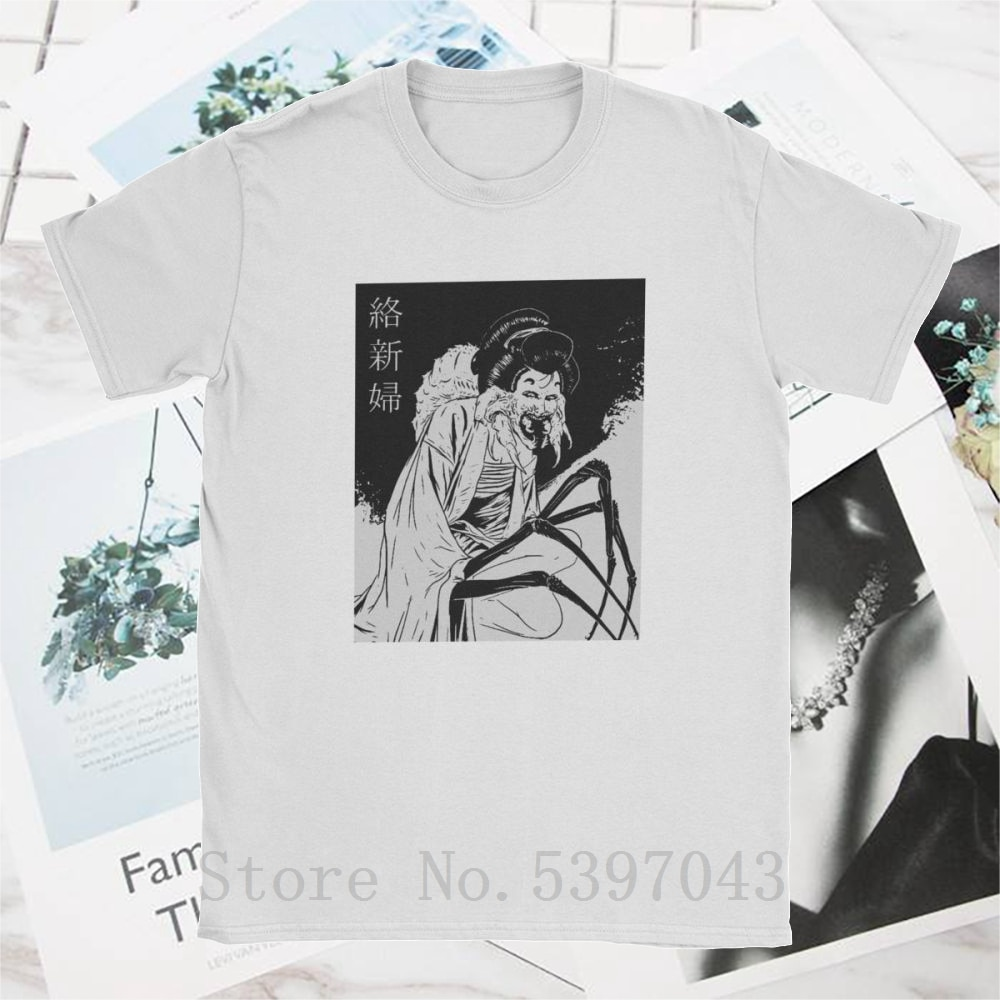 Geisha negro Junji Ito camiseta para hombres japonés Kago Manga Horror Harajuku Tees camisetas de 100% algodón Manga corta