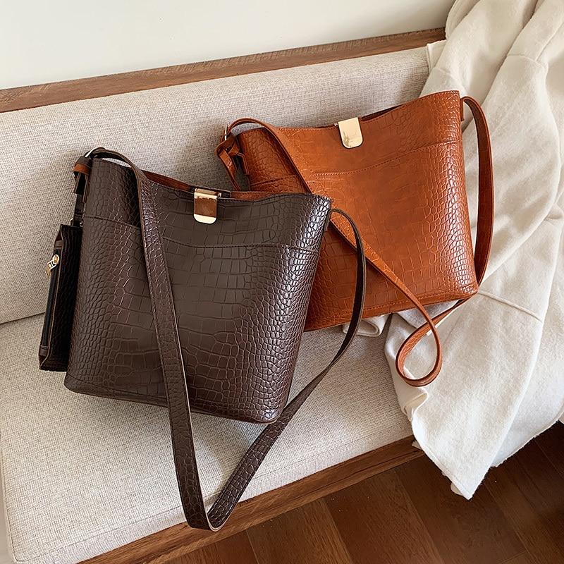 2019 nuevo bolso de cocodrilo Vintage de diseñador para mujer bolsos de cuero Croco bandolera Bolsa de gran capacidad femenina marrón
