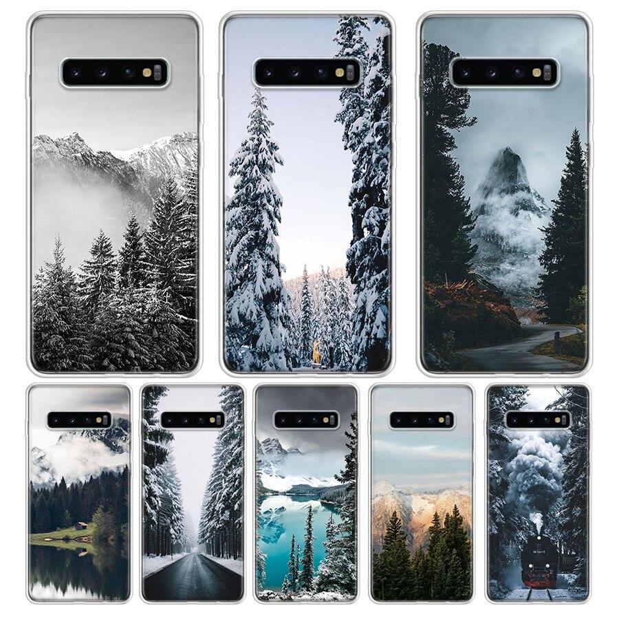 Negro, blanco, pino de montaña bosque montaña niebla teléfono funda para Samsung S6 S7 S8 S9 S10 S10E S11 S11E J42018 J62018 J820