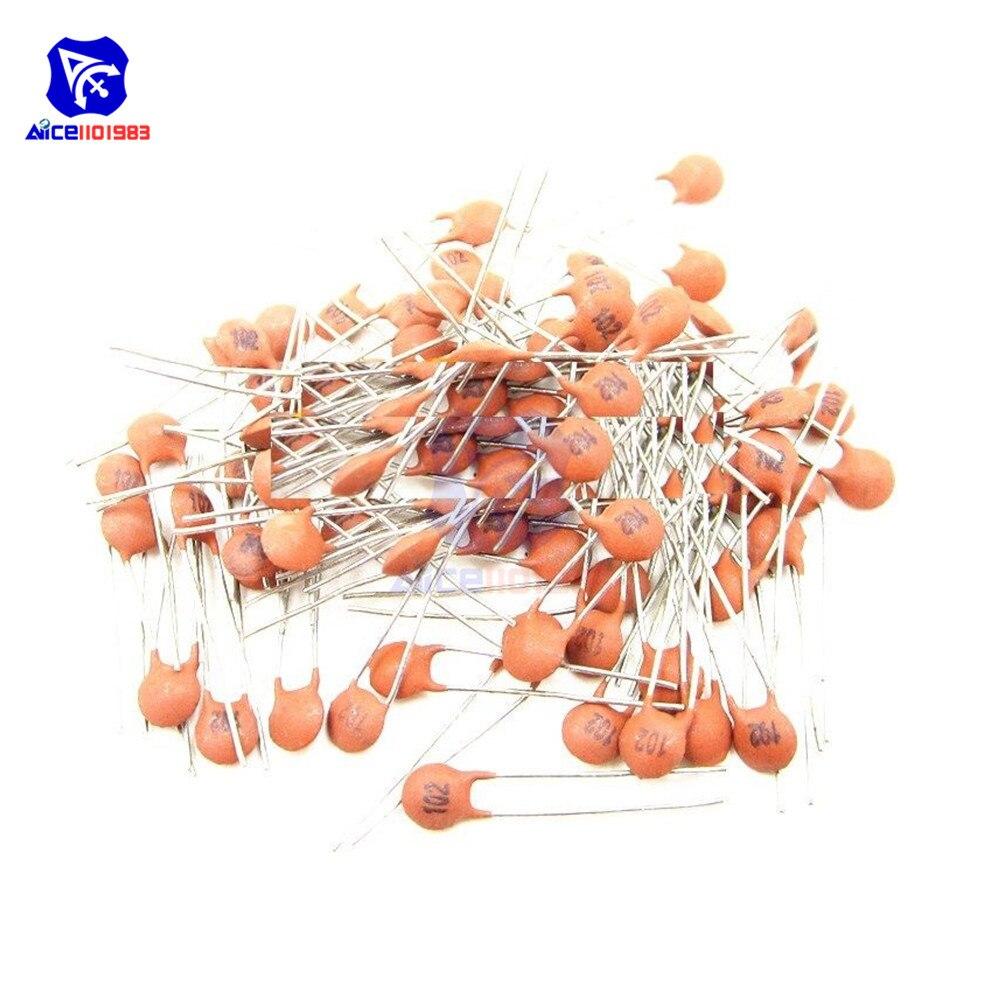 Diymore 100 шт./лот 102 1000pF 1nF емкость 50 в 1000pF 102 DIP Керамические дисковые конденсаторы